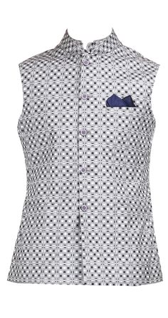 Black and grey checkered waistcoat by RAGHAVENDRA RATHORE. Shop at https://www.perniaspopupshop.com/mens-shop/raghavendra-rathore-3992
