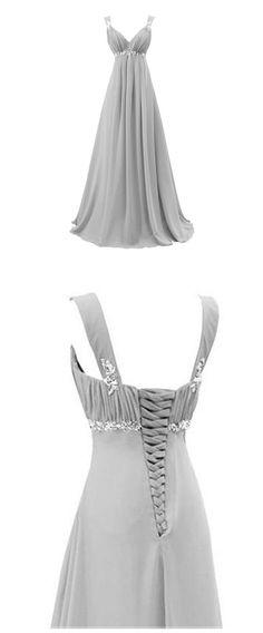 Chic Light Gray V Neck Long Prom Dress, Beaded Empire Floor Length Prom Dress, Elegant Sleeveless Lace-up Chiffon Prom Dress