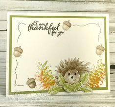 Stampin Up - Painted Harvest Hedgehogs Fall Cards, Holiday Cards, Stampin Up Karten, Sunflower Cards, Daisy, Hand Stamped Cards, Stamping Up Cards, Thanksgiving Cards, Animal Cards