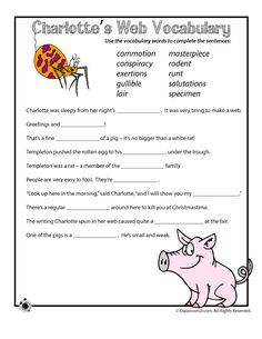 Charlotte's Web Activities and Lesson Plan Vocabulary Sentences Worksheet for Charlotte's Web – Classroom Jr.