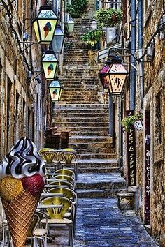 Dubrovnik, Croatia--What a wonderful place, this is! Cute lamp fixtures and clean streets. Amazing. Love the ice cream cones!