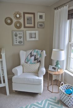 Olive Lane Gender Neutral Nursery Mint Gold and White Benjamin Moore Revere Pewter Wingback Rocker Pottery Barn