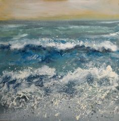 Caught out! part of the storm series. 40cm square framed Acrylic and Oil on canvas Crooklets Beach, Bude Seascape, Cornish Seascape