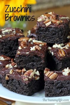 Dark Chocolate Zucchini Brownies. So moist & rich that no one will guess they're loaded with healthy veggies & whole grain. Recipe at www.theyummylife.com/Zucchini_Brownies