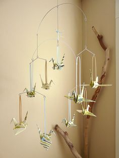 Paper Crane Mobile. Different paper for Ella's room
