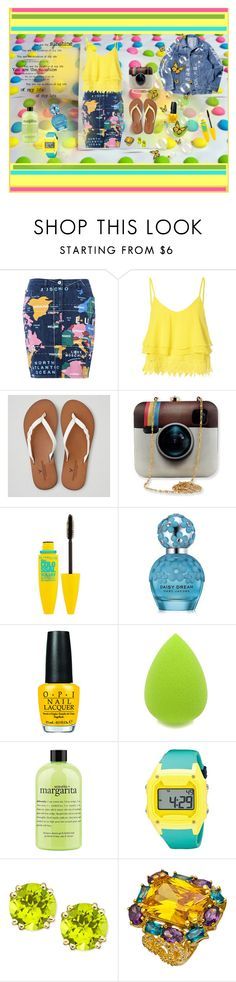"""Let The Sunshine In"" by lauren-cannon ❤ liked on Polyvore featuring Candie's, Love Moschino, Glamorous, American Eagle Outfitters, Maybelline, Marc Jacobs, OPI, philosophy, Freestyle and women's clothing"