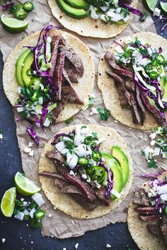 These mojo steak tacos are full of flavor when the steak is marinated in a simple orange, lime, and garlic sauce, seared to perfection, and loaded with all the classic toppings! Steak Tacos, Beef Steak, Fish Tacos, I Love Food, Good Food, Yummy Food, Tostadas, Nachos, Mexican Food Recipes