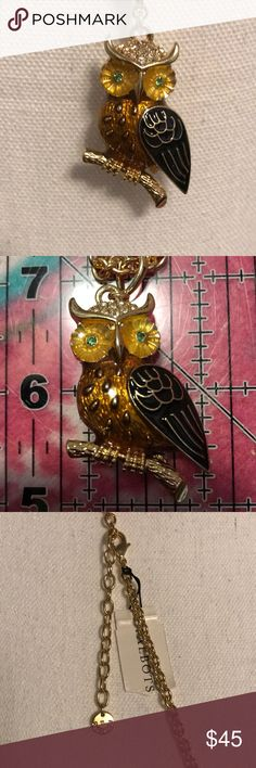 """GORGEOUS Talbots Owl pendant necklace Gorgeous owl sitting on a branch. It's coloring is of golds, bronzes, yellows and blacks. There are Rhinestones on it's head, and green Rhinestones in its eyes. The chain is 34"""", the owl is 1 1/2"""" tall and 1 1/4"""" (total) wide. The owl does come off the chain, but it is difficult. NWT Talbots Jewelry Necklaces"""