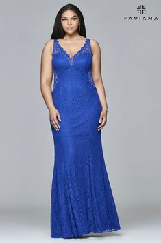 Faviana 9386 V-Neck Lace Plus Size Evening Dress | Dress Outlet – The Dress Outlet Plus Size Long Dresses, Evening Dresses Plus Size, Dress Out, Dress For You, One Shoulder Prom Dress, Dress Collection, Sleeve Styles, Femininity, Illusion