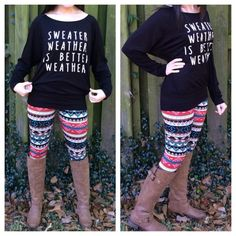 """Black Graphic Print Top ▪️Please do not buy this listing. Comment below with the size you'd like to purchase, and I will make you a separate listing! Thank you!  TREND ALERT  ▪️ """"Sweater Weather is Better Weather"""" black knit jersey long sleeve top with banded hem.   ▪️✳️Pairs great with leggings that are also for sale in my closet! ✳️  ▪️❌No trades/PP❌  ▪️❗️️️️️Discounts on bundles❗️  ▪️1S, 2M, 0L Southern Bellatique  Tops"""