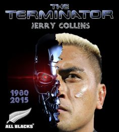 Jerry Collins - the original Terminator - All Blacks rugby - Rest in Peace - Rugby Union Teams, All Blacks Rugby Team, Nz All Blacks, New Zealand Rugby, Australian Football, Rugby League, Legends, Pride, Rest