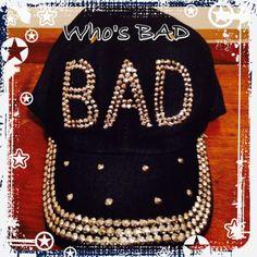 NWT WHO'S BAD CAP Cool denim cap with big rhinestones that say BAD. ❌NO TRADES NO PP❌ Color; Dark Blue Jean Accessories