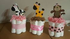 3 tortas de pañales mini de la chica pieza por diapercake4less