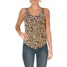 Rory Beca Ty Scoop Tank in Bam Bam - Leopard printed silk tank with rounded neckline and high-low hemline.  http://www.shopcrushboutique.com/apparel/tops/rory-beca-ty-scoop-tank-bam-bam.html