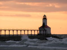 Lighthouse on Lake Michigan at Michigan City, IN