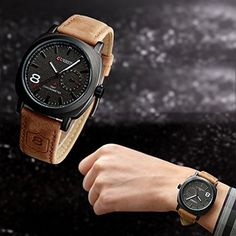 Vktech® Fashion Curren Men Sport Military Water Quartz Watch with Leather Strap (Black) | Amazon Promo Code