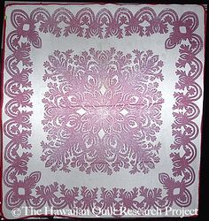 Hawaiian Quilt Project (hand appliqued...holy cow!)