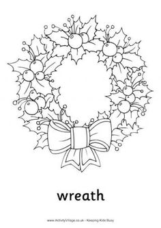 Paper Embroidery Patterns Christmas wreath colouring page as well as many other coloring sheets and worksheets that could be printed out and used as free time activities when work is done. Christmas Words, Christmas Images, Christmas Colors, Christmas Art, Christmas Wreaths, Vintage Christmas, Christmas Reef, Christmas Ornaments, Christmas Coloring Pages