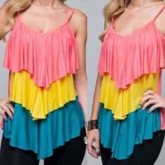 USA MADE NEW Womens Tri-Colored ORANGE YELLOW BLUE TIER Layered Spaghetti TOP Summer Tops Clothes Clothing $38.98 .. we sell more SUMMER TOPS and DRESSES, WOMENS TOPS, DRESSES, and CLOTHES at http://www.TropicalFeel.com