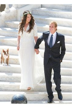 31 August Wedding Photos of Andrea Casiraghi and Tatiana Santo Domingo.Civil wedding ceremony of Andrea Casiraghi and Tatiana Santo Domingo at the Royal Palace in Monaco. Andrea Casiraghi, Charlotte Casiraghi, Grace Kelly, Royal Brides, Royal Weddings, Hollywood Fashion, Royal Fashion, Wedding Bells, Wedding Gowns