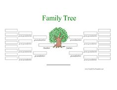 A full-color, five-generation family tree has white boxes in which to write names up to the great, great grandparent level. Free to download and print