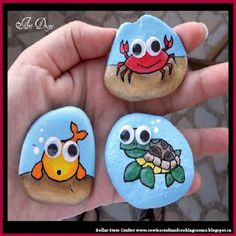 Dollar Store Crafter: Make These Cute Beach Themed Googly Eyes Rock Frid...