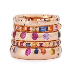 Polly Wales coloured gemstone rings