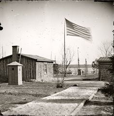 """City Point, Virginia, circa 1865. """"Rear view of General Grant's headquarters."""" Photos from the main Eastern theater of war, the siege of Petersburg, June 1864- April 1865."""