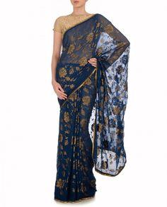 Prussian Blue Sequined Sari - Fuchsia - Designers