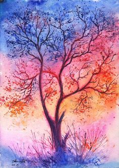 Beautiful Watercolor Landscape Paintings by Anna Armona - Fine Art and You Watercolor Landscape Paintings, Watercolor Trees, Acrylic Paintings, Watercolor Background, Tree Art, Amazing Art, Cool Art, Art Photography, Illustration