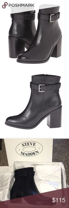 Steve Madden Black Porshia Leather Booties! Perfect Black Leather Booties.  Never out of box!  Size 10 & 7.5. No Trades!! Steve Madden Shoes Ankle Boots & Booties