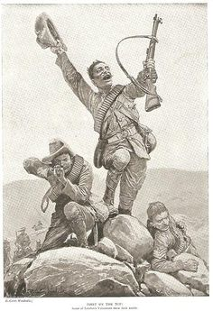 MILITARY PRINT C1900 BOER WAR - LONDON'S VOLUNTEERS FIRST ON THE TOP ! Military Art, Military History, Saint Matthew, Age Of Empires, African History, British Army, First World, War, Drawings