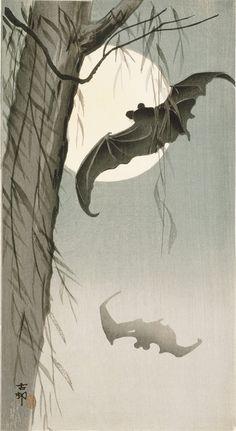 Ohara Koson, Bats In Moonlight, c.1910 (via).