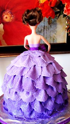 Barbie Doll Cake Fondant Lavender Ombre Dress(Back Side)