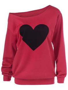 Heart Print Skew Collar Sweatshirt