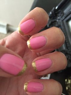 My birthday nails- pink with gold sparkle French tips!