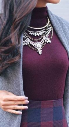 i love this statement necklace paired with this purple turtleneck for a classy winter outfit.