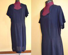 1950s Vintage Navy Blue Day Dress size L XL by TabbysVintageShop, $38.00