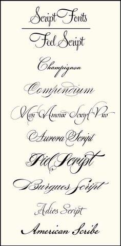 Tattoo fonts, script, cursive, tattoo ideas