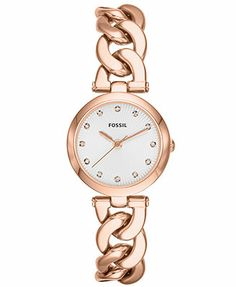 Fossil Watch, Women's Olive Rose Gold-Tone Stainless Steel Link Bracelet 28mm ES3392