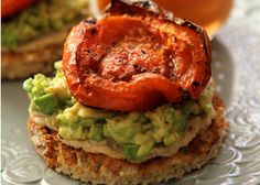 Vegan Recipe: Hummus and Avocado Toasts with Roasted Tomato. Repinned by www.eatloveraw.com - Dairy-Free, Soy-Free Gluten-Free Raw Energy Bars