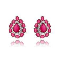 a6806e25ab8 Brinco moderno rubi com zirconias semi joias de luxo