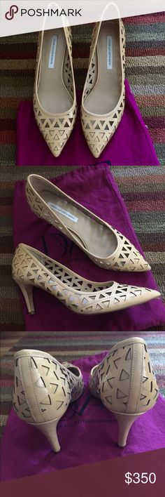 """DVF nude patent cutout low heel pumps, EUC. Your new go-to nude pumps from DIANE VON FURSTENBURG. Patent leather with triangle cutouts and an easy 2.75"""" heel will take you effortlessly from work to weekend. Excellent used condition.  Wore twice, once outdoors and once to Poshfest 2016.  They are a size 9.  Absolutely beautiful.  The nude patent matches everything!  And DVF low heels are awesome, comfy, sexy and rare! Original pink DVF dust bag included.  Size 9. Purchased in NYC Soho…"""