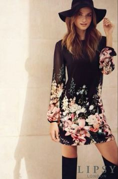 Lipsy London. Floral shift dress. In love with this look.