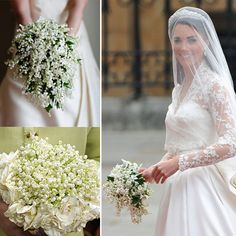 Lily of the Valley bouquet~Gorgeous.  --- look @Amanda Hall - Princess Kate had a  lilly of the valley bouquet.  What month wash Josh born?  Maybe you could incorporate that month's flowers, too!