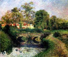 #Little Bridge on the Voisne, Osny - Camille Pissarro#BRIDGE#WATER EFFECTS
