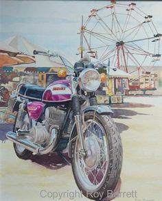 """Foto: Si la vida fuese una noria sería muy simple y aburrida, girando sobre un eje sin moverse de lugar. Si te gustan las motos sabes lo que es rodar en moto, sobre dos ejes, una vida ni simple ni aburrida. Ilustración de Roy Barrett titulada """"Cobra dawn"""". Más en: http://desguaceweb.com #DesguaceMarket #RoyBarrett #CobraDawn"""