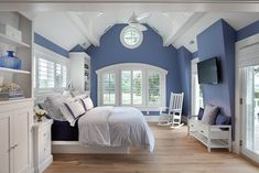 Beach Style Bedroom Design Ideas, Pictures, Remodel and Decor White Bedroom Design, White Bedroom Furniture, Blue Bedroom, Bedroom Decor, Girls Bedroom, Bedroom Ideas, Dark Furniture, Bedroom Small, Decor Room