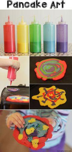 Hot cakes artísticos.  Tus pequeñitos pueden ayudar a hacer el desayuno.  #Sellospararopa #Vacaciones www.sellospararopa.com