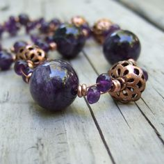 Amethyst Necklace  Natural Stone Jewelry  Boho by ColorwayJewelry, $45.00